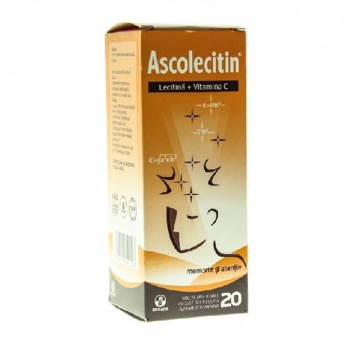 Ascolecitin 20tab Masticabile Cu Gust De Ciocolata Biofarm