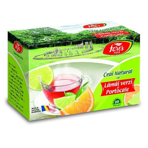 Ceai Natural Lamai Verzi si Portocale 20plicuri Fares