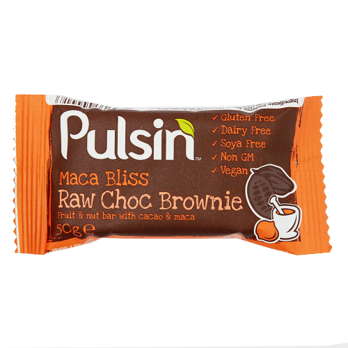 Baton Organic cu Maca si Cacao Brownie 50gr Pulsin