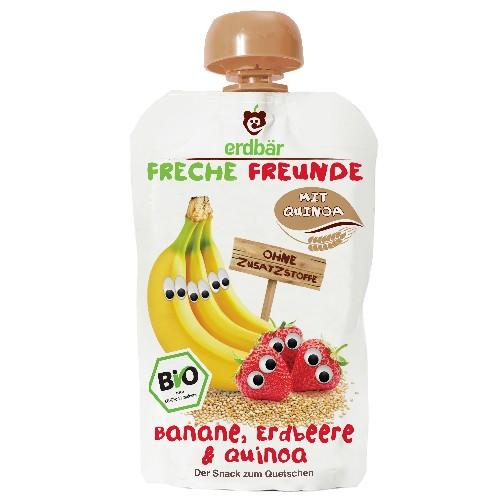 Piure de Banane, Capsuni si Quinoa Bio 100gr Erdbar