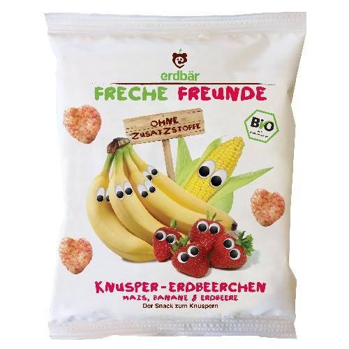 Gustare Crocanta cu Banane si Capsuni Bio 25gr Erdbar
