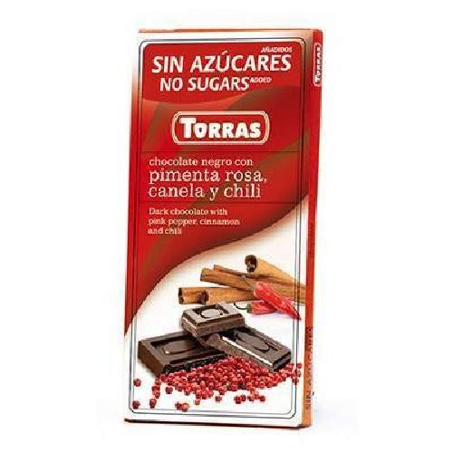 Ciocolata Neagra cu Piper Rosu,Scortisoara si Chilli 75gr Torras