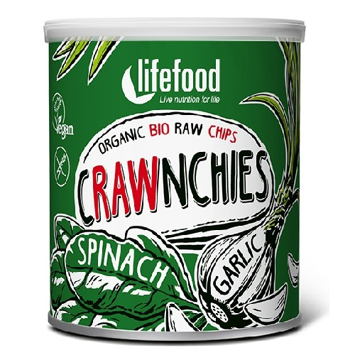 Chips Crawnchies cu Spanac si Usturoi Raw Bio 30gr Lifefood