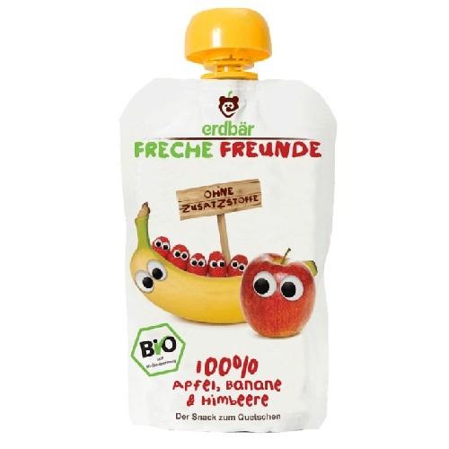 Piure de Banane, Mere si Zmeura Bio 100gr Erdbar