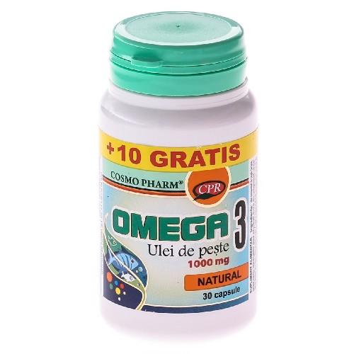 Omega 3 Ulei de Somon 1000mg + 10cps Gratis CosmoPharm