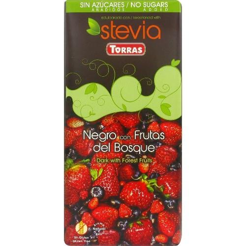 Ciocolata Neagra cu Fructe de Padure (cu Stevia) 125gr Torras
