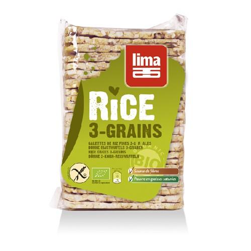 Rondele de Orez Expandat cu 3 Cereale Bio 130gr Lima