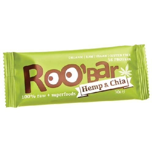 Roobar Baton Proteic Raw Bio cu Chia si Canepa 30gr