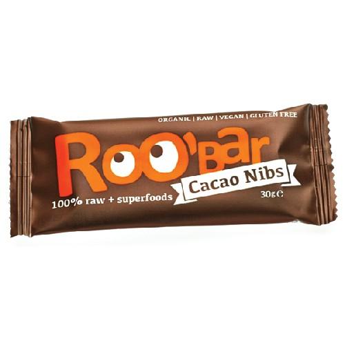 Baton Raw Bio Cu Miez De Cacao Si Migdale 30gr Roobar