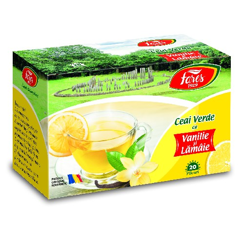 Ceai Verde cu Vanilie si Lamaie 20plicuri Fares