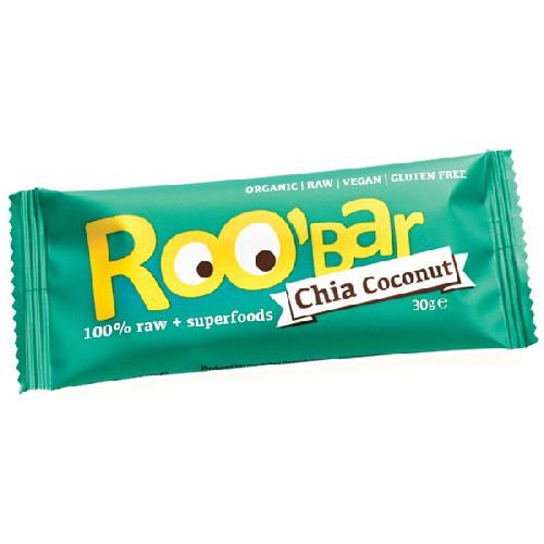 Baton Raw Bio cu Seminte de Chia si Cocos 30gr Roobar