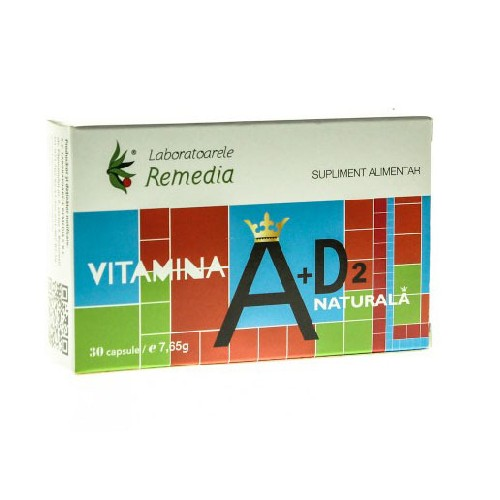 Vitamina A + D2 Naturala 30cps Remedia
